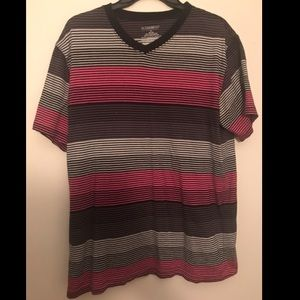 Pink, black, and gray striped v-neck t-shirt